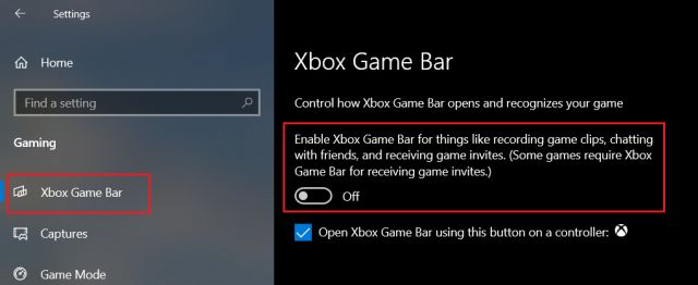 Désactiver la Xbox Game Bar sur Windows 10