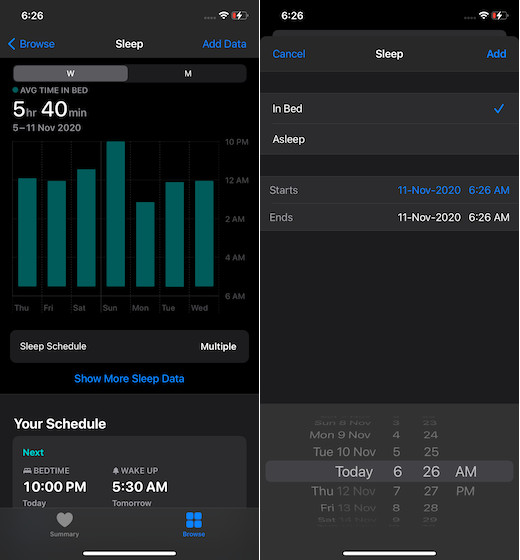 add sleep tracking data manually