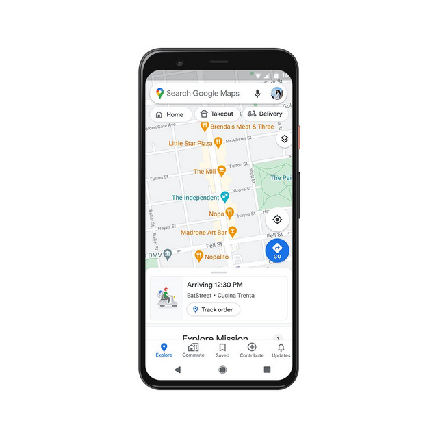 maps live status of takeout and delivery orders