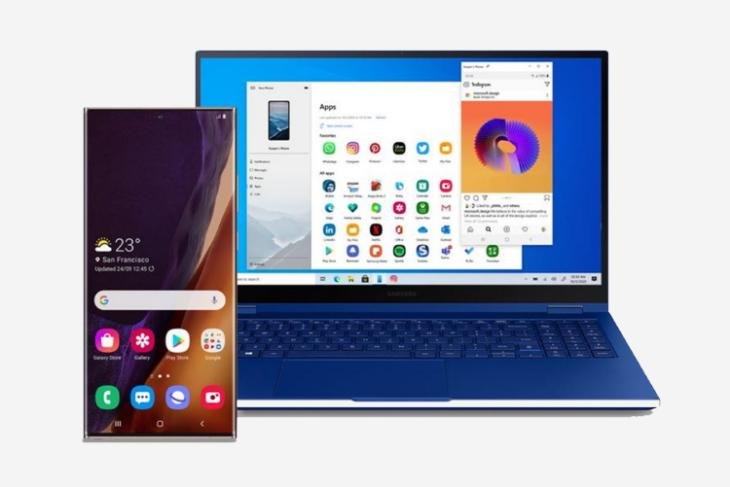 windows 10 your phone run android app on your PC - samsung integration