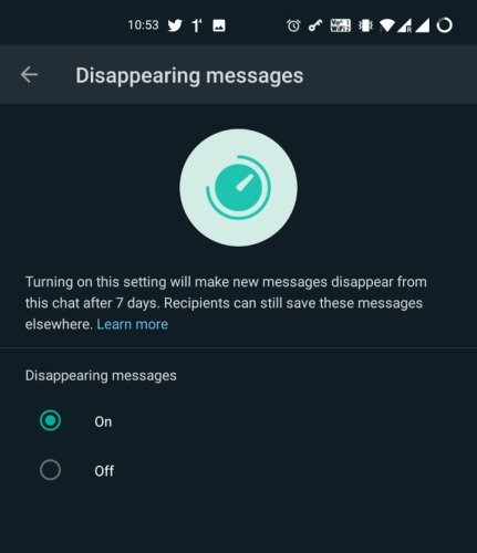 WhatsApp Disappearing Messages Feature Now Live in Beta; How to Turn it On/Off