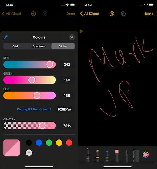 Notes uygulamasında işaretleme rengi araçlarını kullanma