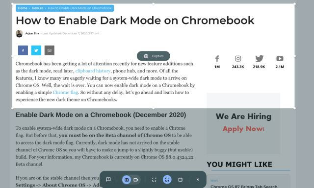 Screenshot on Chromebook with Screen Capture