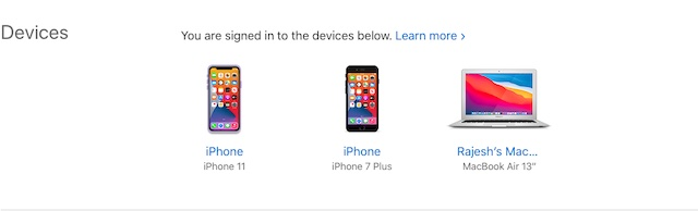 Check devices linked with Apple ID on web
