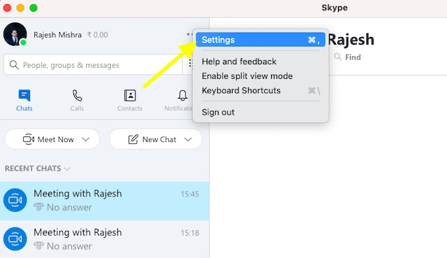 Choose Settings option in Skype