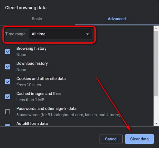 Borrar datos de navegación en Chrome usando el atajo de teclado