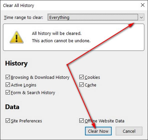 Borrar datos de navegación en Firefox con el método abreviado de teclado