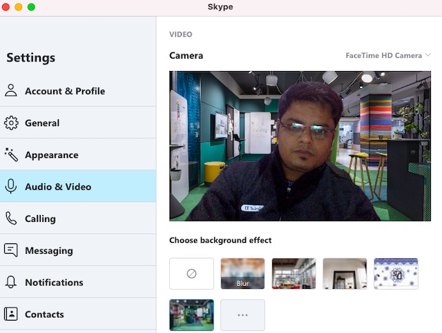 Customizing background effect for Skype video calls