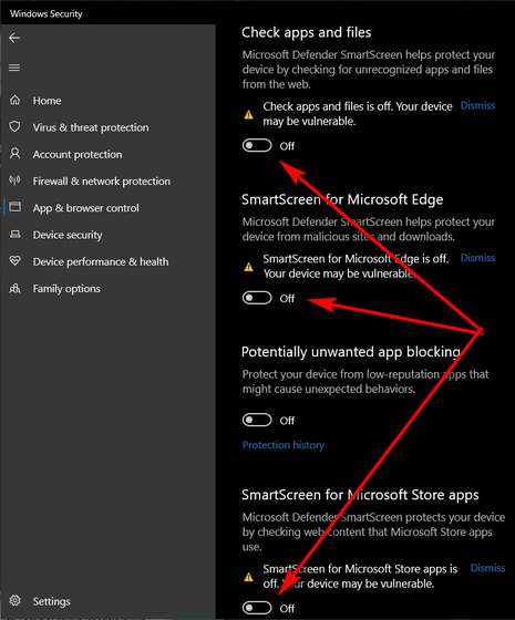 Disable SmartScreen Filter in Windows 10