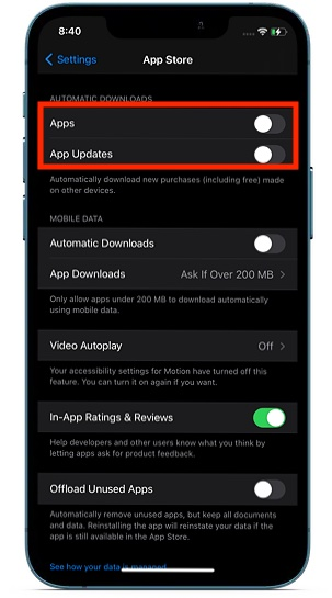 Disable automatic downloads and updates