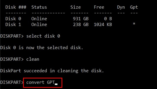 Convert MBR to GPT