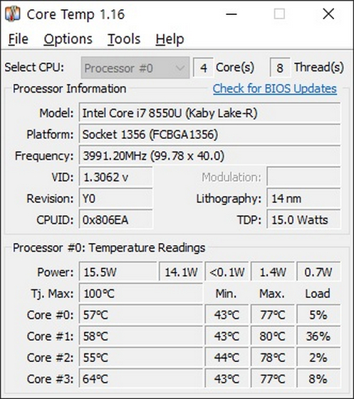 Core Temp Πώς να ελέγξετε τη θερμοκρασία της CPU