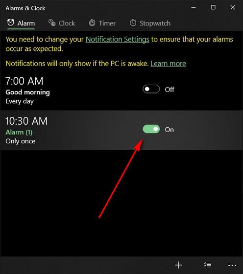 windows 10 alarm