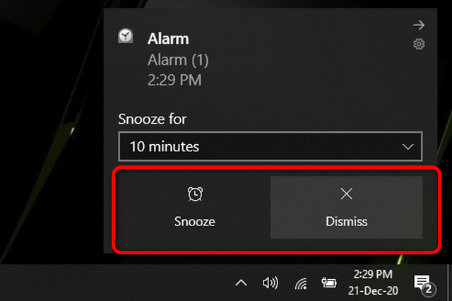 alarm mute and snooze options
