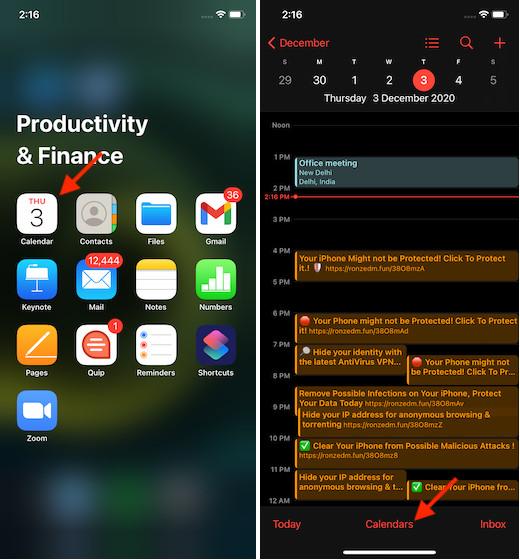 Launch Calendar app