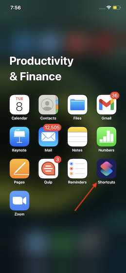 Launch Shortcuts app