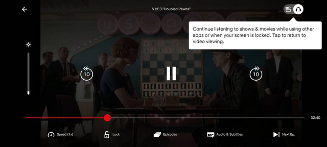 Netflix Audio-only Mode on Mobile