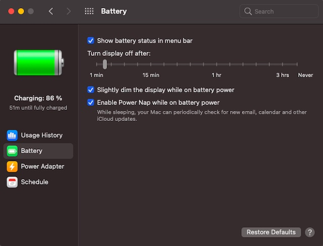 Nueva configuración de batería en macOS Big Sur