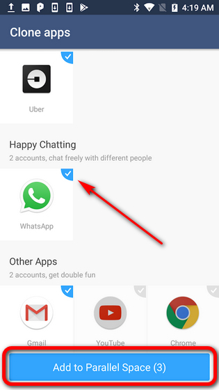 Run two WhatsApp accounts on same phone Parallel Space