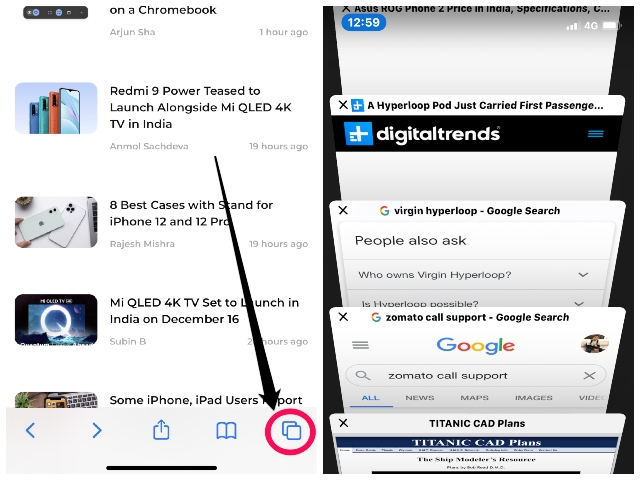 search tabs safari iphone and ipad