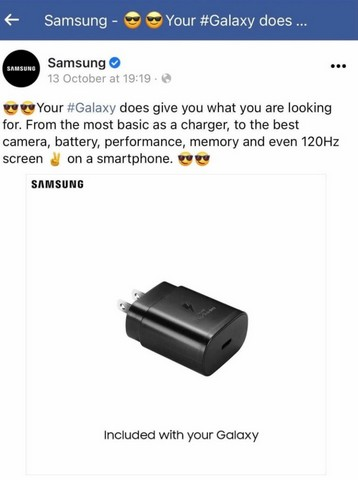 Samsung deleted fb post mocking apple for charger