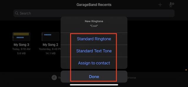 Set audio as standard ringtone on iPhone
