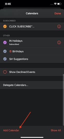 Tap on add calendar