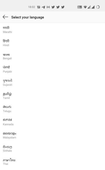 instagran indian language support