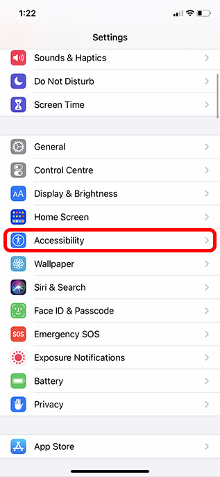 accessibility option in settings
