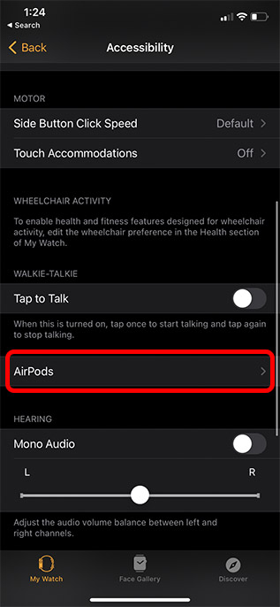 airpods accessibility settings apple watch