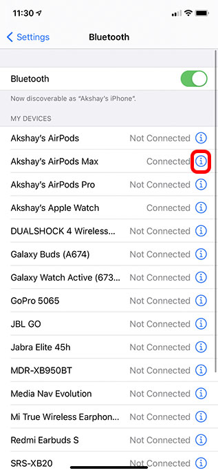 airpods max settings in iphone