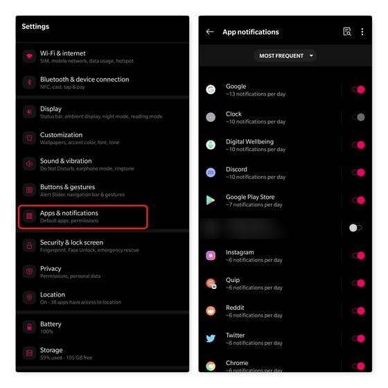 bloquear notificaciones por aplicación