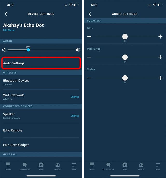 change alexa equaliser settings