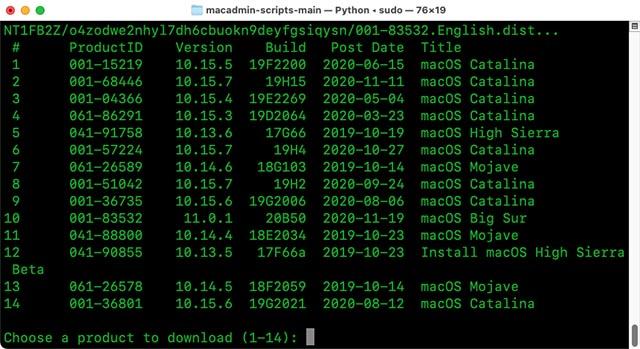 choose macos version to download terminal