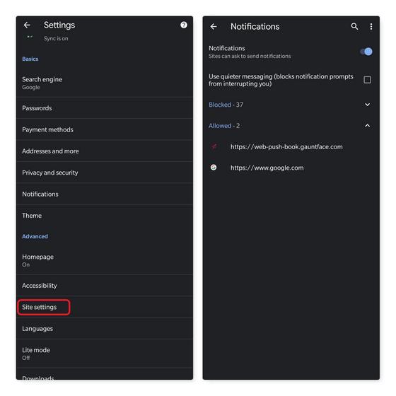 configuración del sitio Chrome para notificaciones