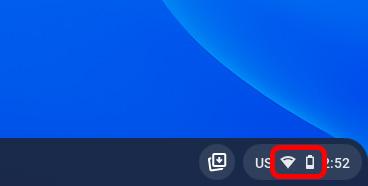 chromebook network icon taskbar