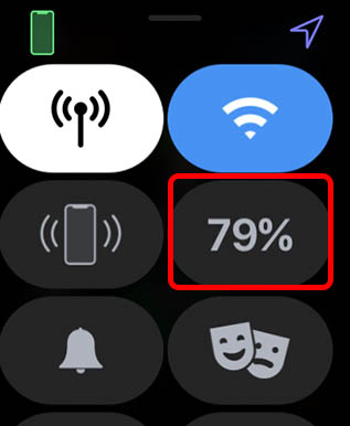tap on battery percentage in control center