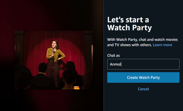 create watch party - amazon prime video