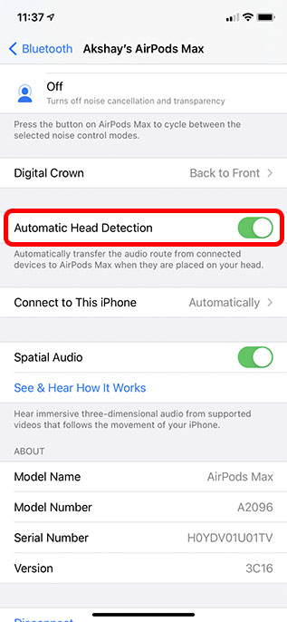 disable automatic head detection airpods max tips