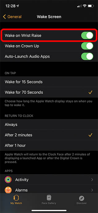 disable wake to improve battery life on apple watch