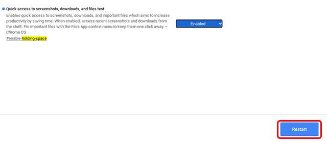 habilitar espacio de espera Chrome OS reiniciar Chromebook