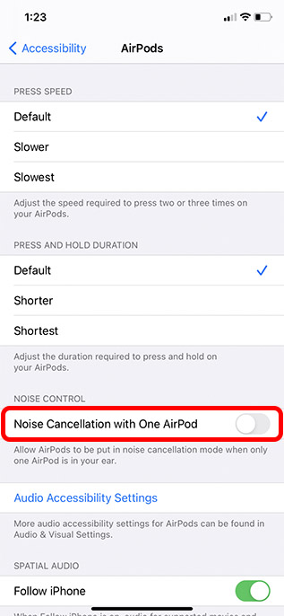 enable noise cancellation with single airpod iphone