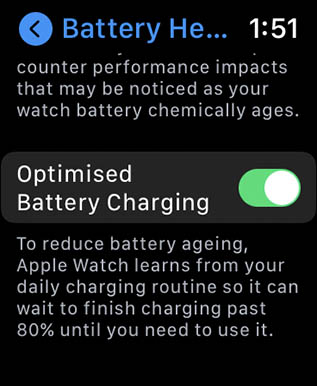 optimised battery charging in apple watch