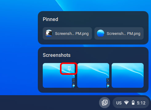 pin items in holding space chrome os