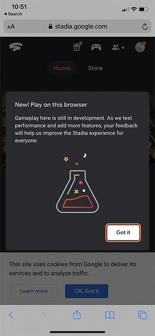 Spielen Sie Stadien im Safari-Begrüßungsbildschirm