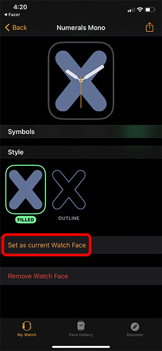 set custom watch face apple watch