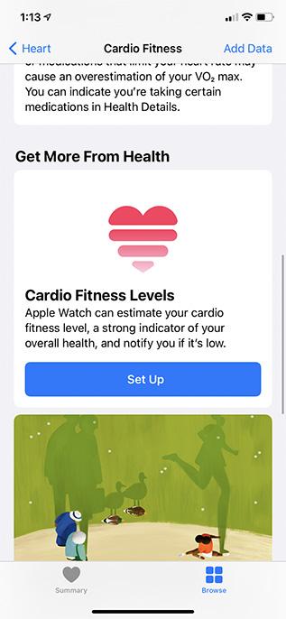 set up cardio fitness iphone