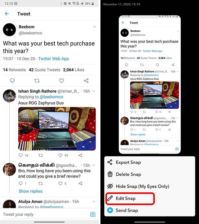 compartir tweets en snapchat android paso 1