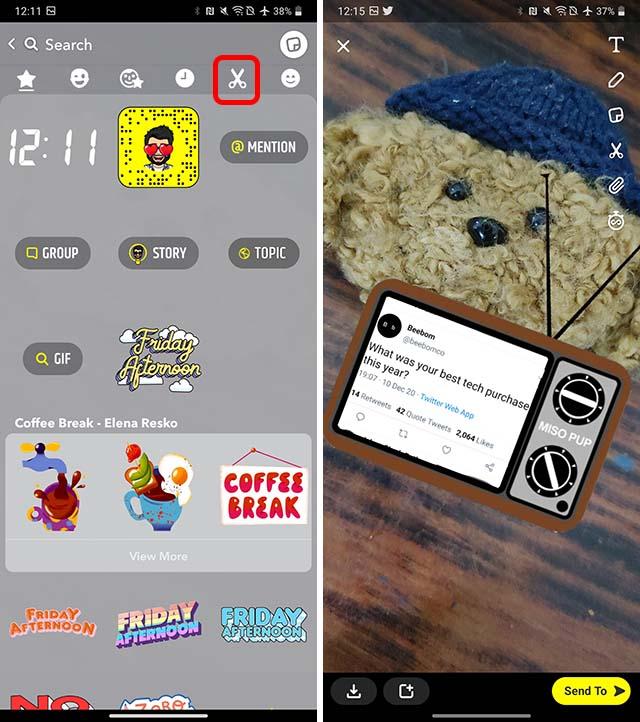 compartir tweets en snapchat android paso 4