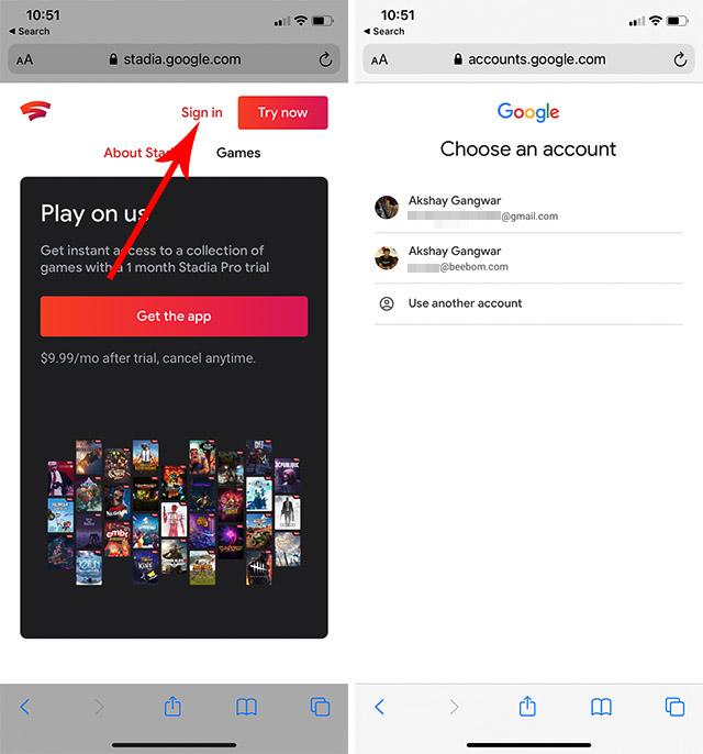 Melden Sie sich bei Google Stadia auf dem iPhone an